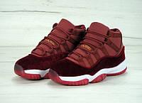 Женские кроссовки Nike Air Jordan 11 GS Heiress, бордовые, материал - кожа+замша