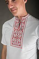 Чоловіча вишиванка Карпатська червоно-сіра на білому, фото 1