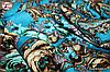 Бирюзовый павлопосадский платок Осенний круговорот, фото 2