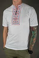 Чоловіча вишиванка Карпатська червоно-синя на білому