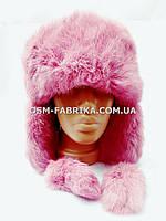 Теплая шапка-ушанка кролик розового цвета