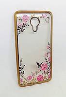 Силиконовый чехол с бампером под металлик с цветами Meizu M3 Note золотой