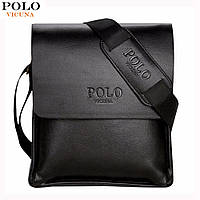 Мужская сумка барсетка через плечо Polo VICUNA  (черная)