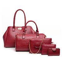 Женская сумка большая набор 5в1 красный  + клатч, кошелек, фото 1