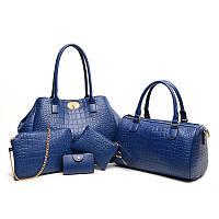 Женская сумка большая набор 5в1 синий + клатч, кошелек