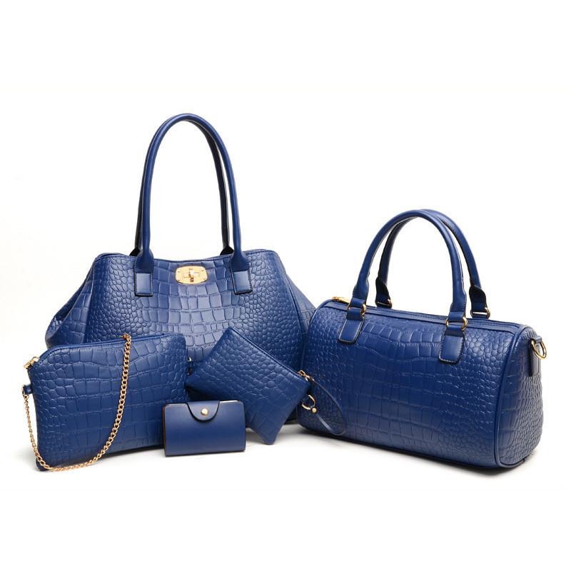 737b0ed64a36 Женская сумка большая набор 5в1 синий + клатч, кошелек купить по ...