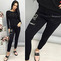Женские замшевые брюки со стразами