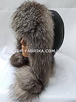 Стильная шапка-ушанка из меха чернобурки хит продаж