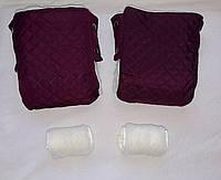 Раздельная муфта стеганая меховая для рук на ручку коляски, на санки (сливовый). Оптом