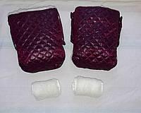 Раздельная муфта стеганая меховая для рук на ручку коляски, на санки (вишневый). Оптом