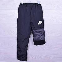 """Утепленные спортивные штаны подростковые на флисе """"Nike реплика. 8-13 лет. Черные. Оптом"""