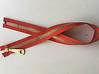 Застежка молния RIRI  метал полированная зубья золото 70 см брелок Lang60 разъемная тесьма красная