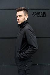 Soft Shell мужская тактическая куртка софтшелл на флисе влагоустойчевая MAW man&wolf черная +подарок