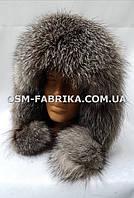 Стильная шапка-ушанка из меха чернобурки новинка сезона