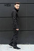 Soft Shell Мужской тактический костюм софтшелл на флисе влагоустойчевый MAW man&wolf черный