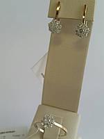 Красивый комплект украшений из серебра с золотом и камнями (арт.01-003Н)