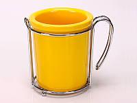 Подставка для кухонных принадлежностей 8х9 см. фарфоровая с металлической подставкой, желтая Round