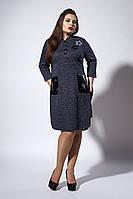Стильное женское платье-рубашка с накладными карманами, темно-синее