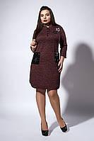 Оригинальное женское платье-рубашка с накладными карманами, бордовое