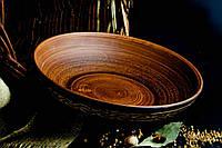 Миска из красной глины для вареников ангоб