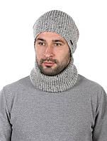 Комплект вязаный шапка и баф светло серый