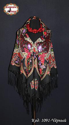 Женский чёрный павлопосадский  платок Любава, фото 2