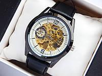 Мужские механические часы скелетоны, черные, дополнительный циферблат, фото 1