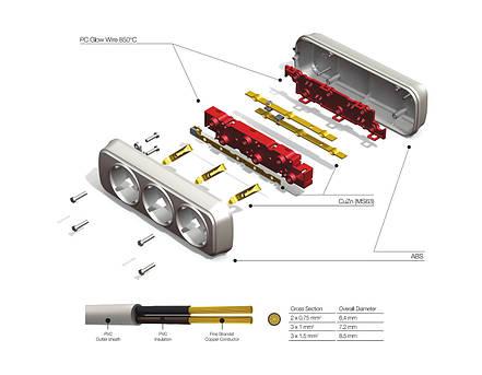 Удлинитель 2 метра 4 розетки  выкл 220V 16A Horoz, фото 2