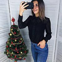 Черная шифоновая женская блузка с кружевом