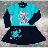 Платье для девочки с новогодним принтом 28-32 р, детские платья оптом от производителя