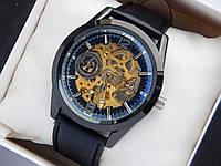 Мужские механические часы скелетоны, черные, дополнительный циферблат