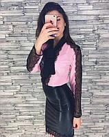 Женская блуза из креп-шифона и кружева