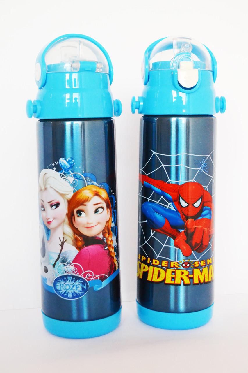 Термос Детский с поилкой-трубочкой и откидной крышкой - Disney Heroes 9030 500мл