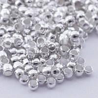 Бусины зажимные стопперы, кримпы, из латуни, бочонок, цвет серебро БА000000590