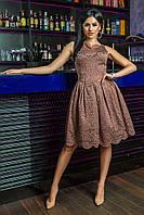 Стильное гипюровое женское платье миди без рукавов