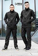 Soft Shell-мужской спортивный костюм на флисе влагоустойчевый MAW man&wolf черный