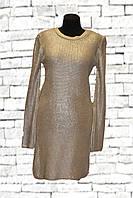 Вязаное женское платье с напылением серебра