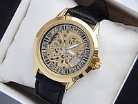 Часы скелетоны Слава Созвездие, золото, кожаный ремешок, фото 1