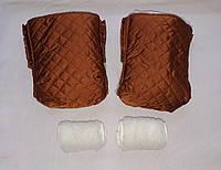 Раздельная муфта стеганая меховая для рук на ручку коляски, на санки (терракот). Оптом