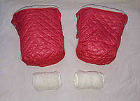 Раздельная муфта стеганая меховая для рук на ручку коляски, на санки (алый). Оптом