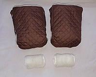 Раздельная муфта стеганая меховая для рук на ручку коляски, на санки (кофе с молоком). Оптом