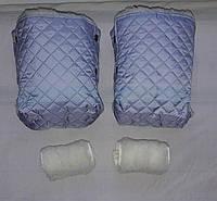Раздельная муфта стеганая меховая для рук на ручку коляски, на санки (серый). Оптом