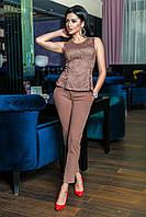 Женский брючный костюм (гипюровая кофта + классические штаны) (норма)
