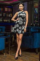 Короткое бархатное женское платье  с принтом цветы (норма)