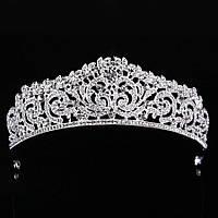 Свадебная диадема, корона, тиара на голову для невесты посеребрение 4782с-а