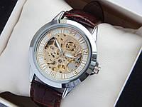 Часы скелетоны Слава Созвездие, серебро, золотой механизм
