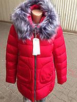 Женская зимняя куртка/Батал/Фабричный Китай/красного цвета оптом