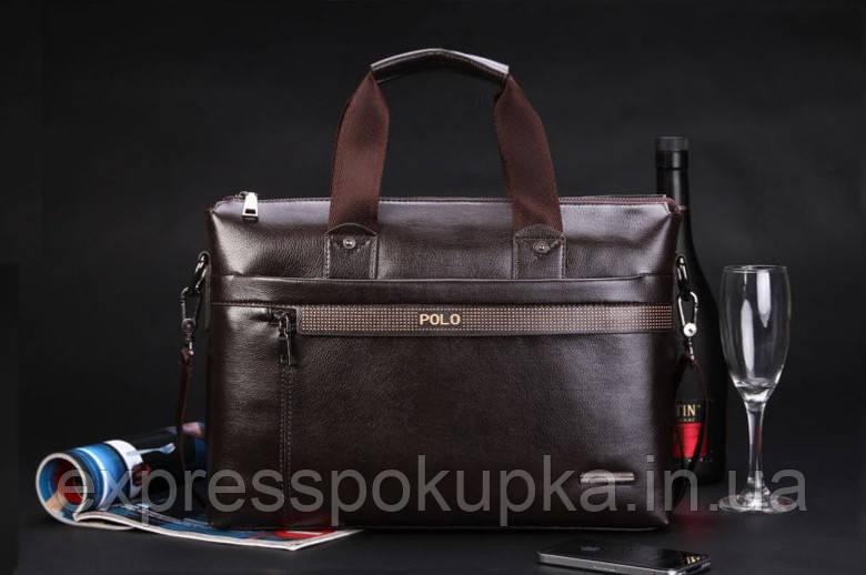0665cdcc91cb Мужская кожаная сумка-портфель POLO Коричневая - Только лучшие товары  напрямую от производителей! в