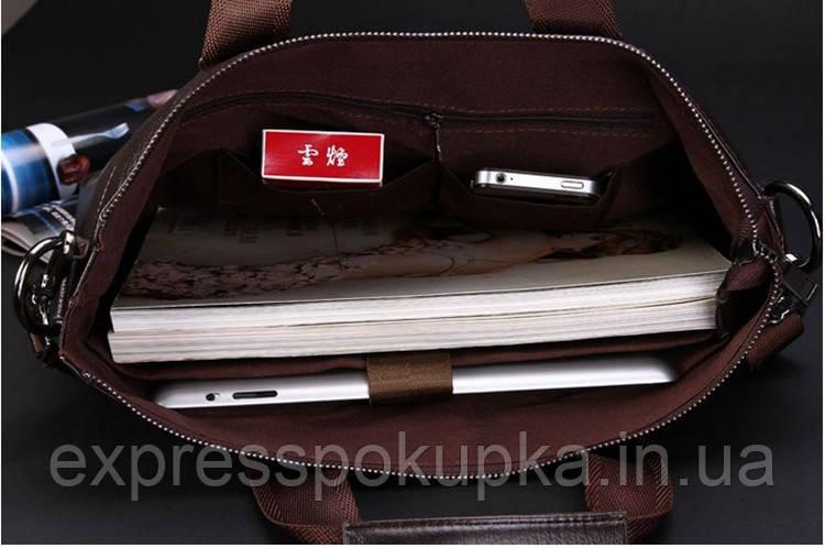 85b24a7960cf ... Мужская кожаная сумка-портфель POLO Коричневая, ...