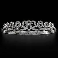 Свадебная диадема ювелирная бижутерия посеребрение 4787с